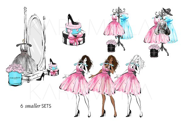 Fashion clipart. Girls party illustrations creative