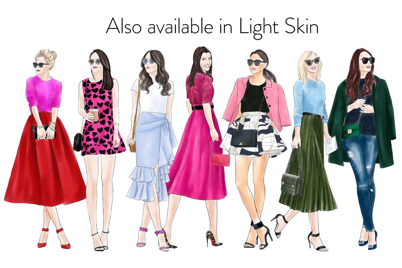 Fashion clipart. Watercolor girls dark skin