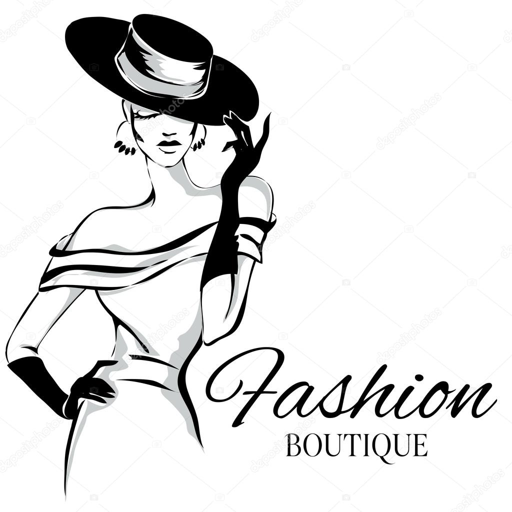 Lady clipart. Fashion model silhouette clip