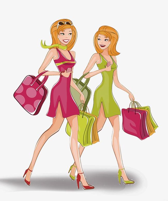 Fashion clipart. Shopping women png image