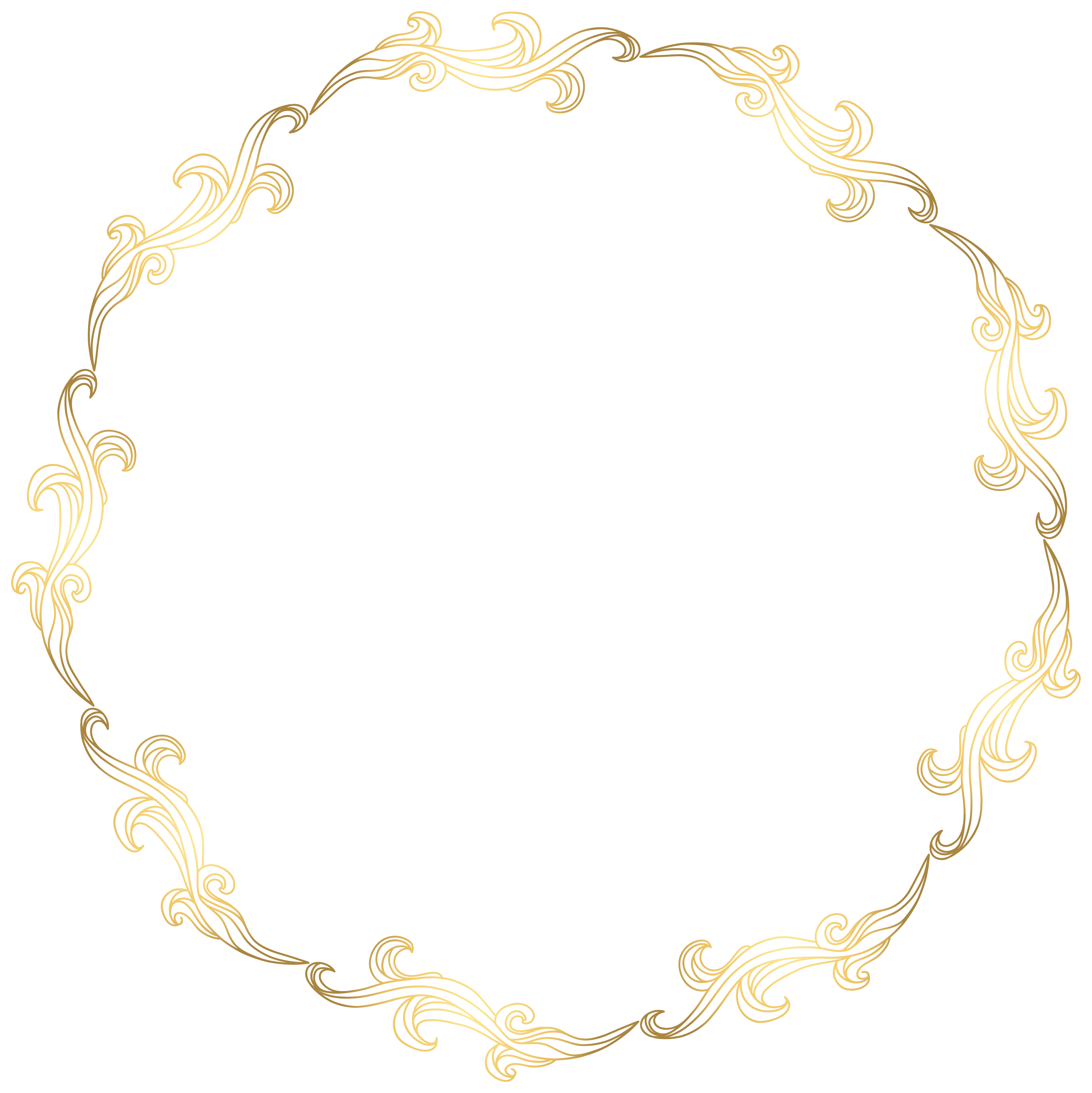 Floral gold transparent clip. Round border png