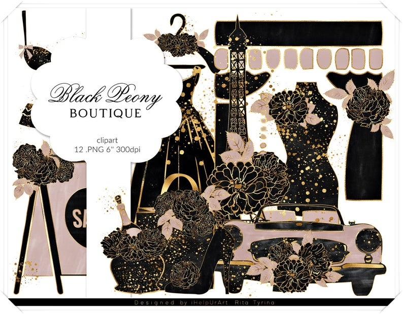 Glamour black and gold. Fashion clipart boutique