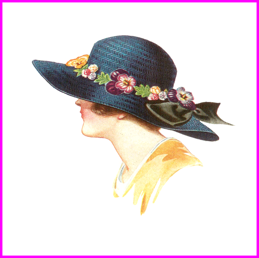 Appealing antique fashion clip. Hat clipart old fashioned