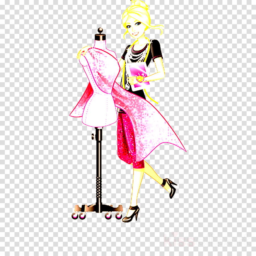 Fashion clipart costume designer. Illustration pink design clip