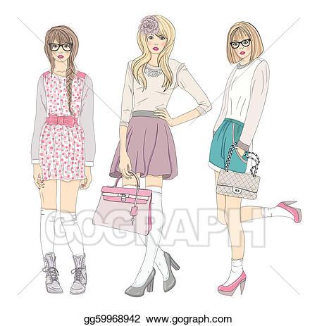 Vector teenager girls . Fashion clipart cute