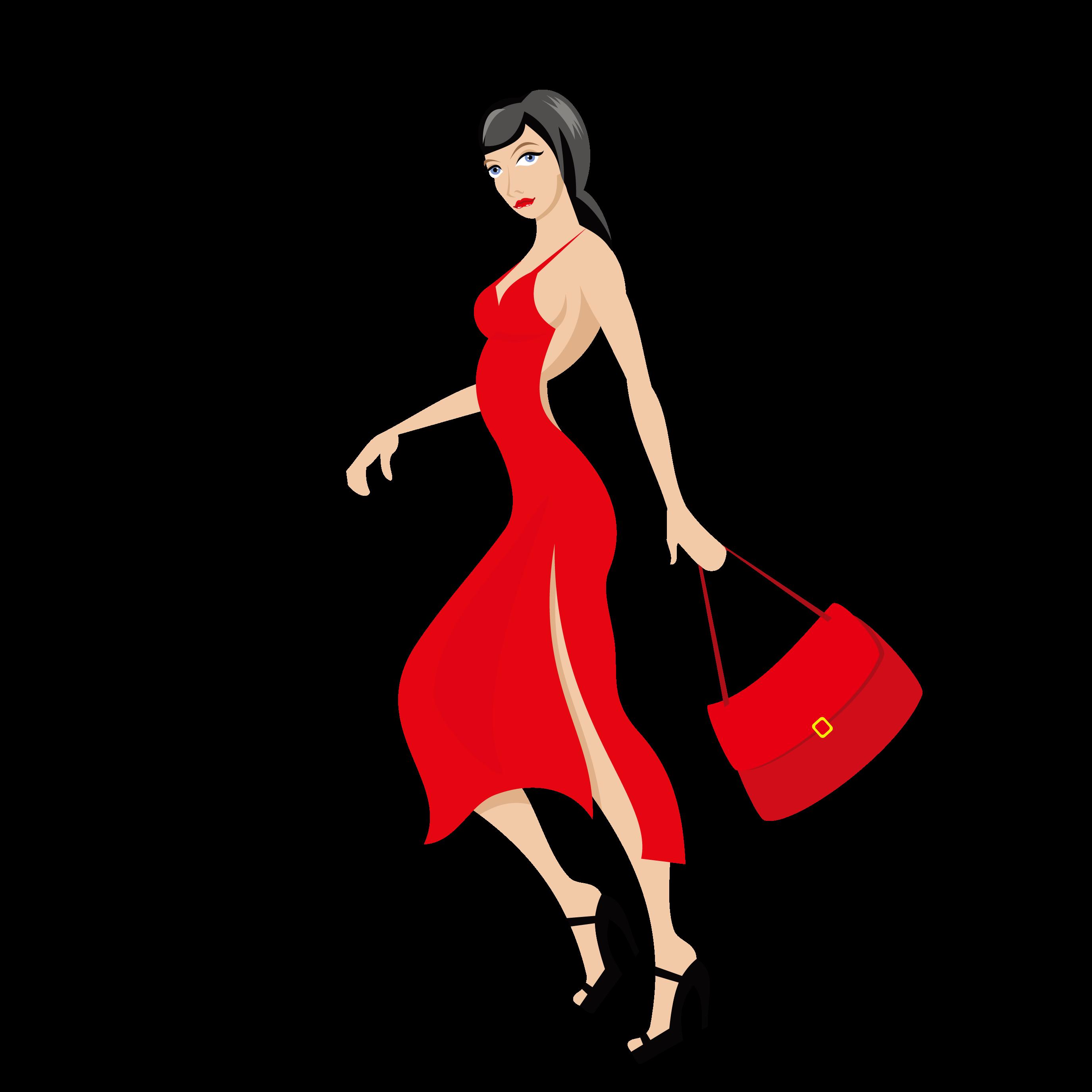 Fashion clipart fashion drawing. Dress red wearing a