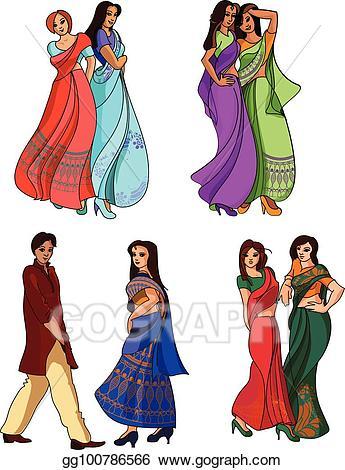 Fashion clipart fashion indian. Vector art set drawing