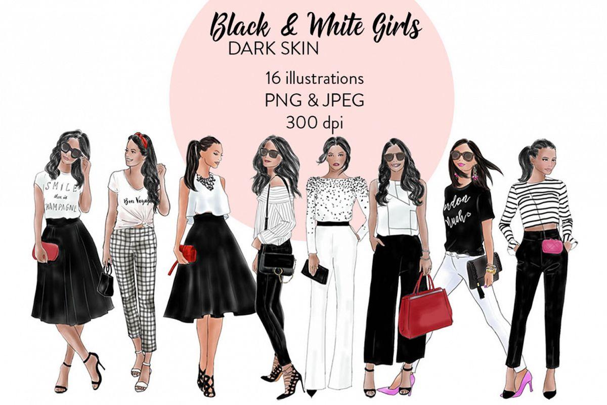 Black white girls dark. Fashion clipart fashion product