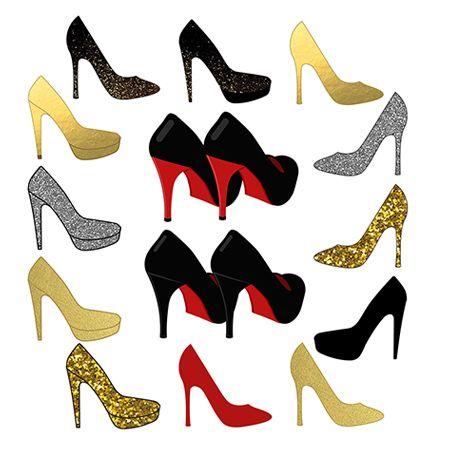 Shoes high heel sparkle. Fashion clipart fashion shoe