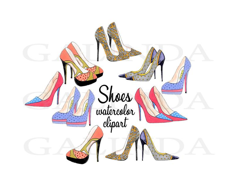 Fashion clipart fashion shoe. Heels high shoes watercolor
