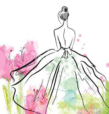 Fashion clipart fashion sketch. Girl in beautiful dress