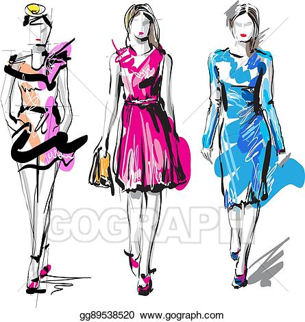 Fashion clipart fashion sketch. Eps vector models stock