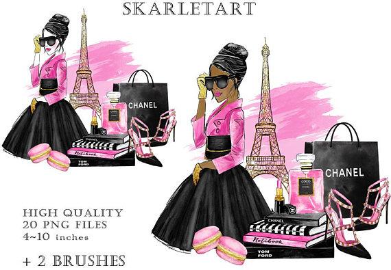Watercolor paris girl . Fashion clipart girly dress