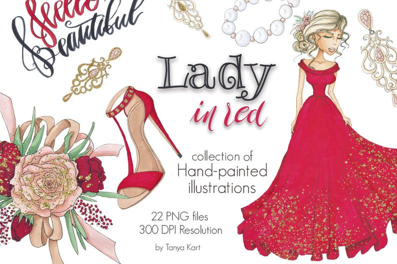 Fashion clipart girly dress. Planner supplies lady in