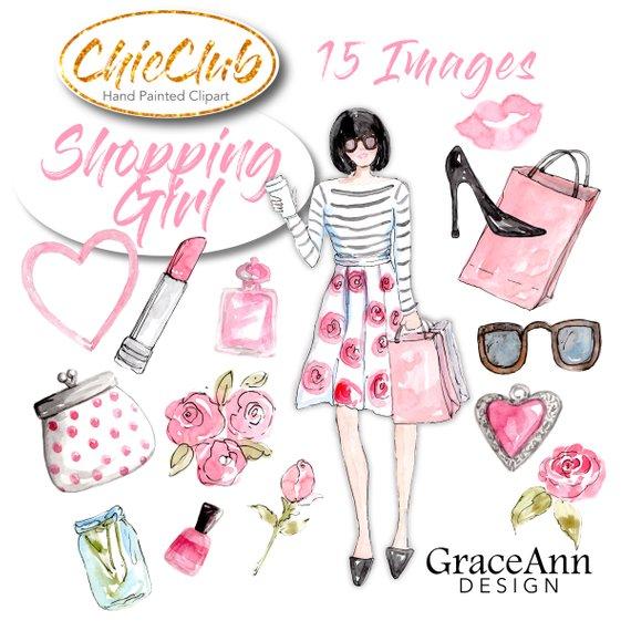 Shopping girl diy invitations. Fashion clipart girly dress