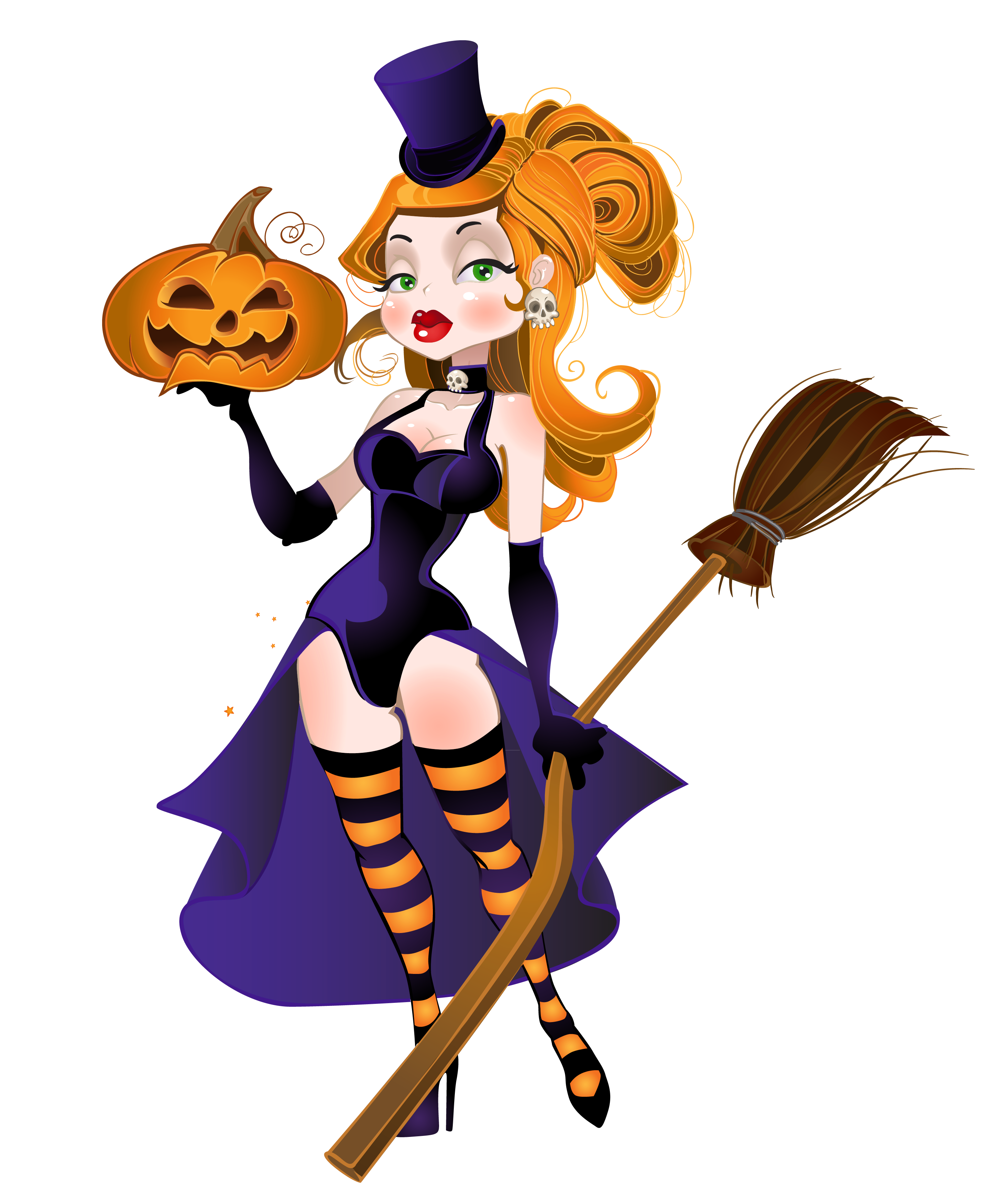 Halloween with broom and. Witch clipart pumpkin