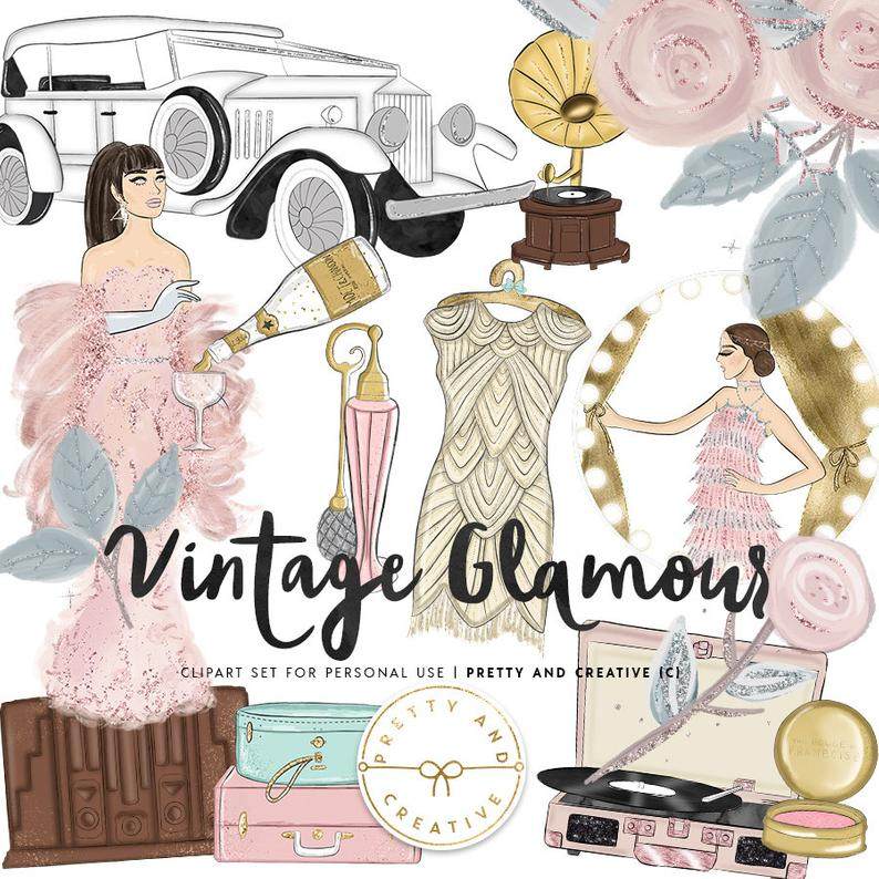 Hollywood clipart hollywood vintage. Glamour part fashion girls
