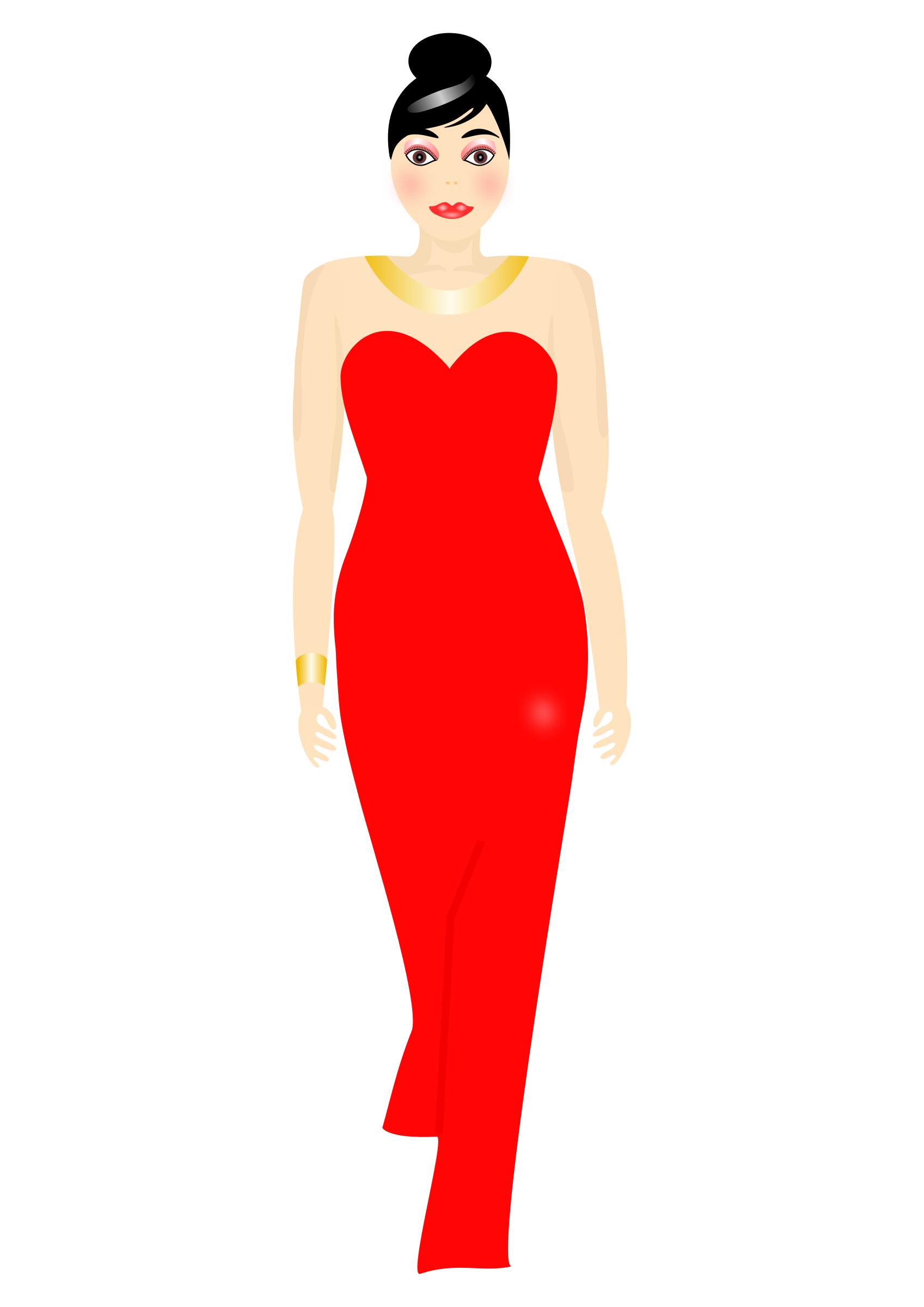 Red dress big image. Female clipart fashion model