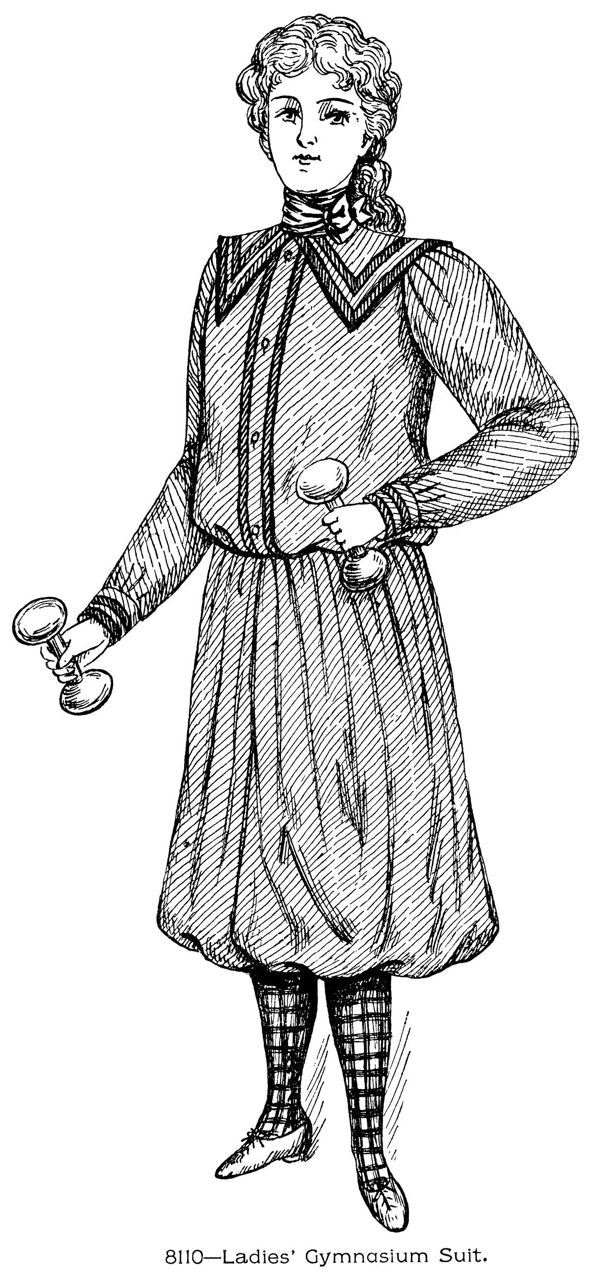 Fashion clipart lady suit. Ladies gymnasium old design