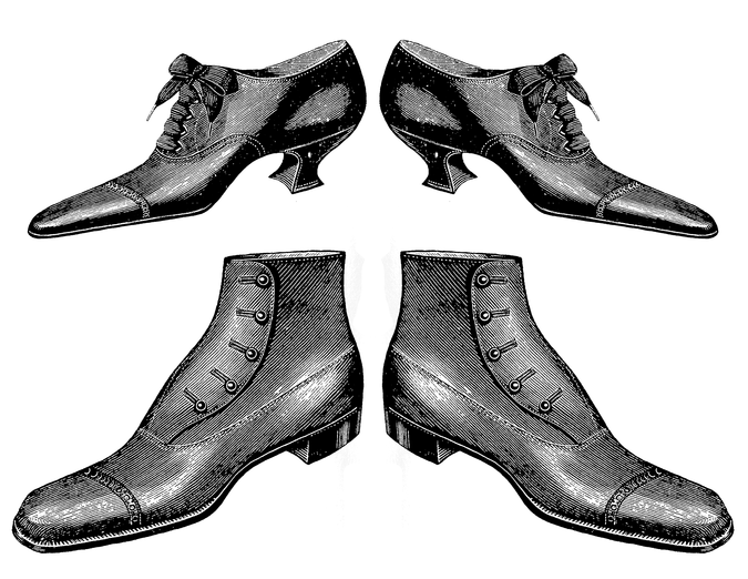 shoes victorian era. Fashion clipart man woman