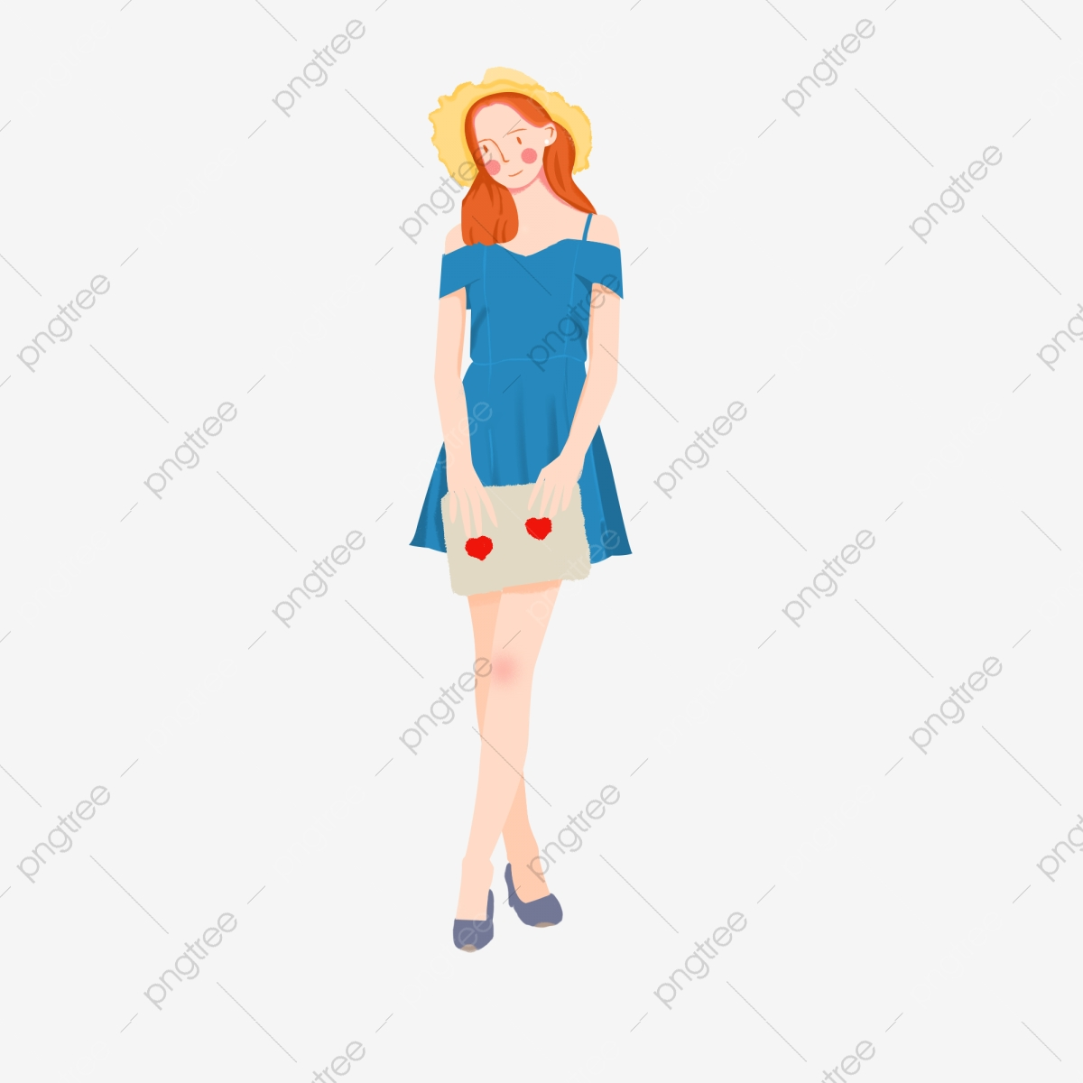 Summer lovely clothing cartoon. Fashion clipart modern girl