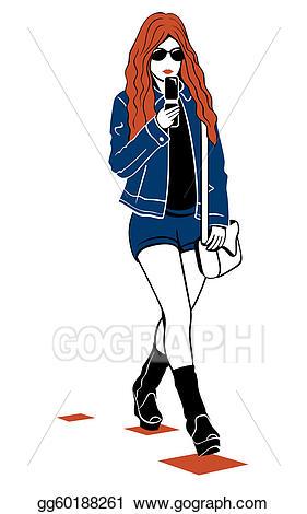 Fashion clipart modern girl. Vector art eps gg