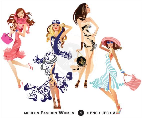 Women girls shopping . Fashion clipart modern girl