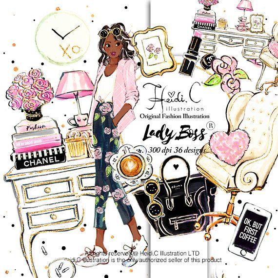 Lady boss elegant clip. Fashion clipart office