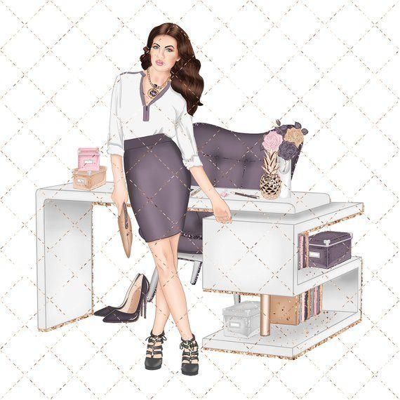 Girl boss . Fashion clipart office