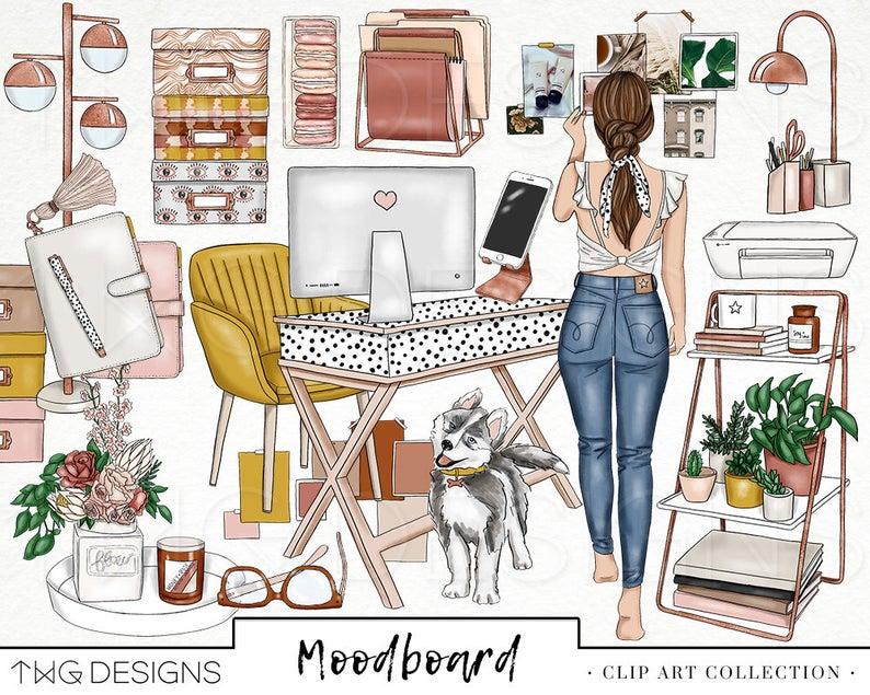 Mood board girl clip. Fashion clipart office