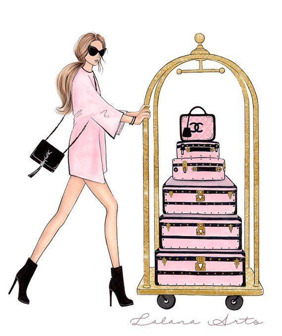 Fashion clipart pink fashion. Digital art printable wall