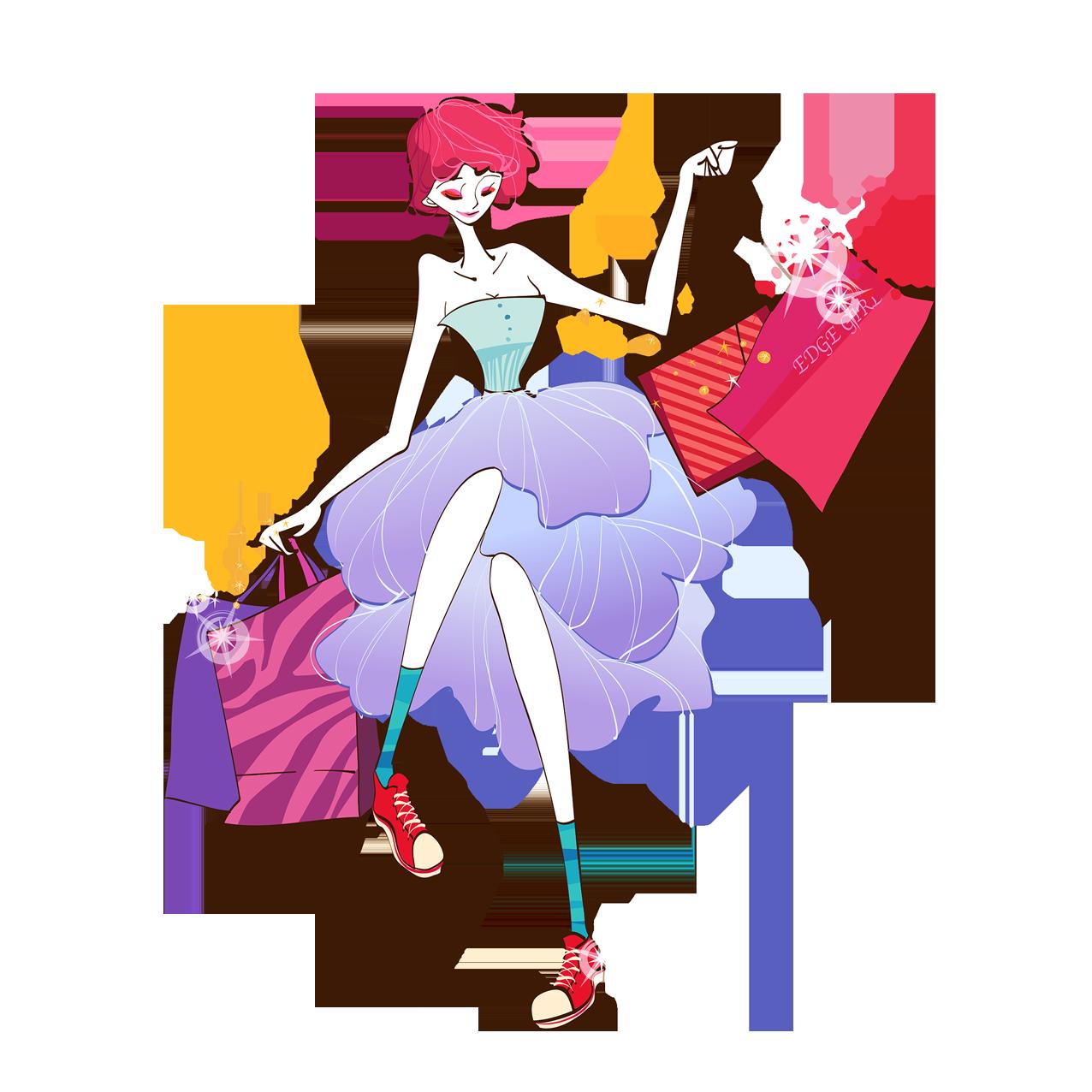 Woman shopping cartoon illustration. Fashion clipart pink fashion