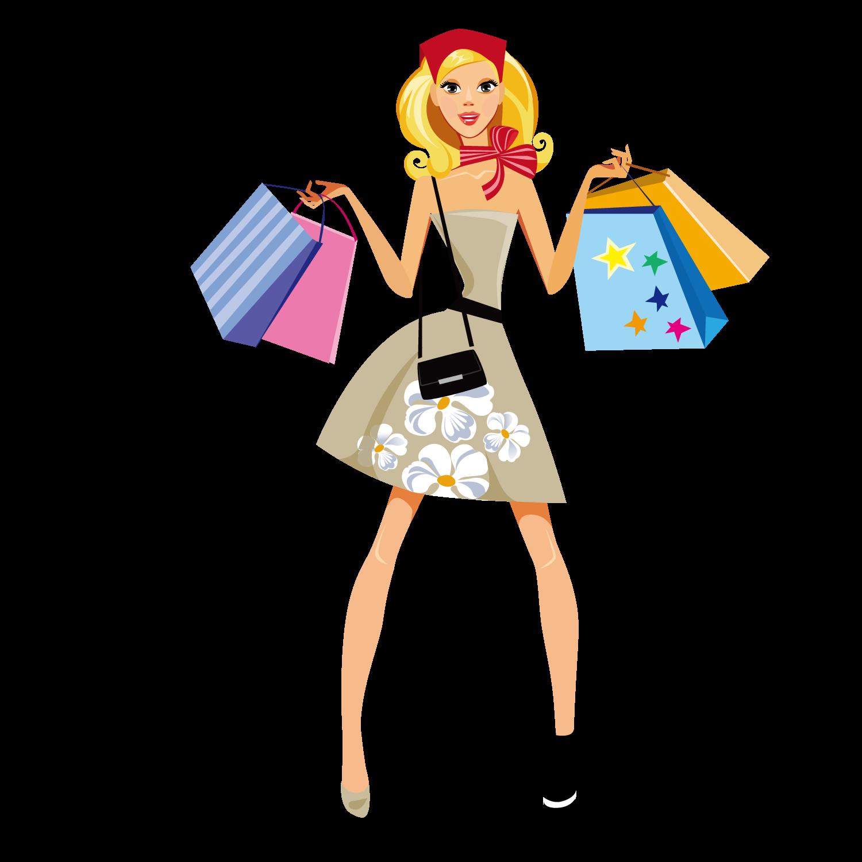 Fashion clipart popular girl. Shopping illustration women