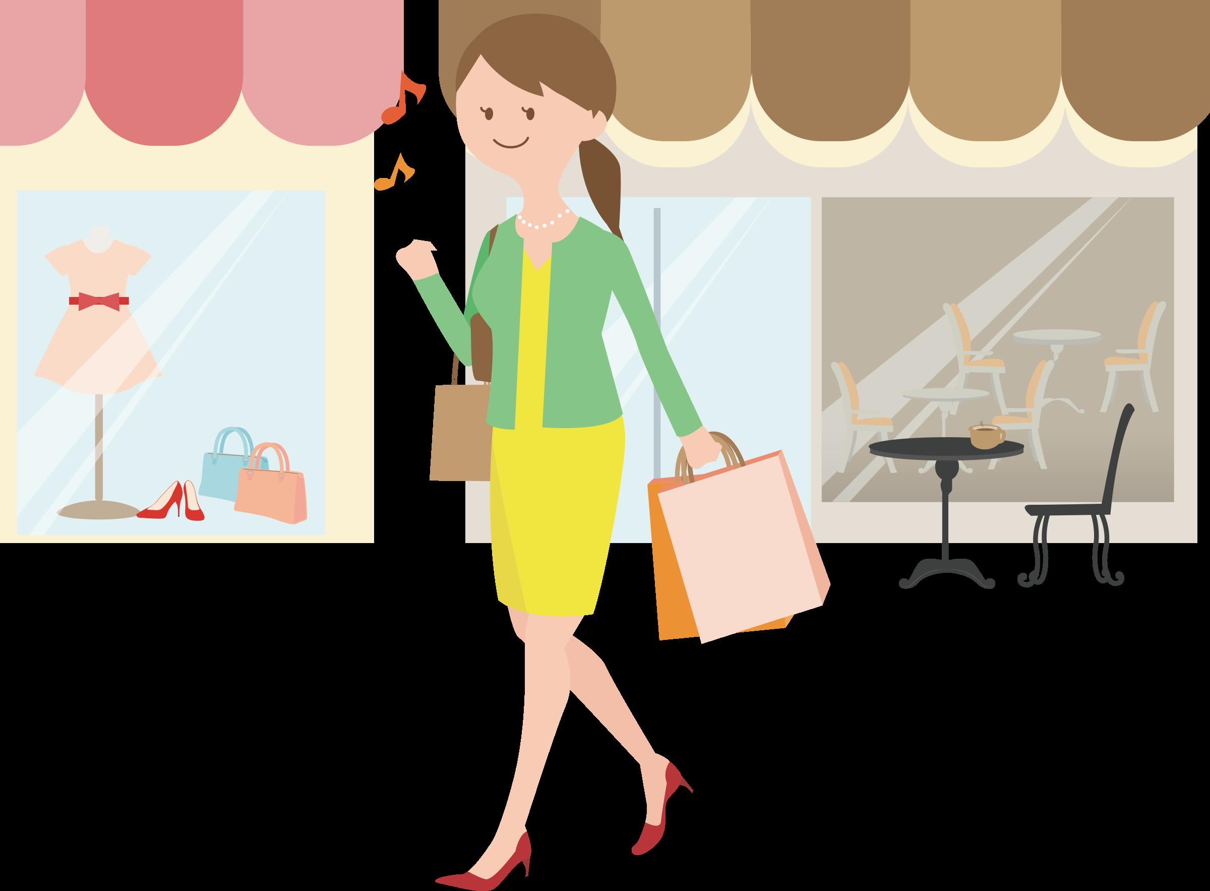 Female shopper big image. Fashion clipart public domain