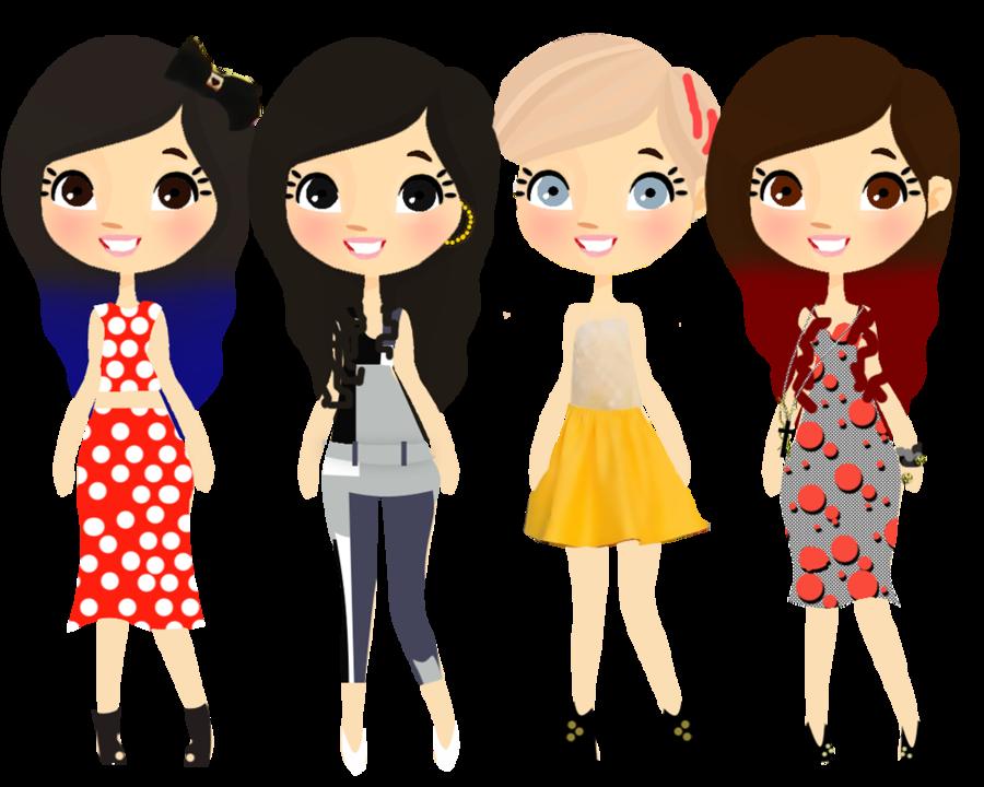 Fashion clipart scrapbook. Dolls v silhouette cameo
