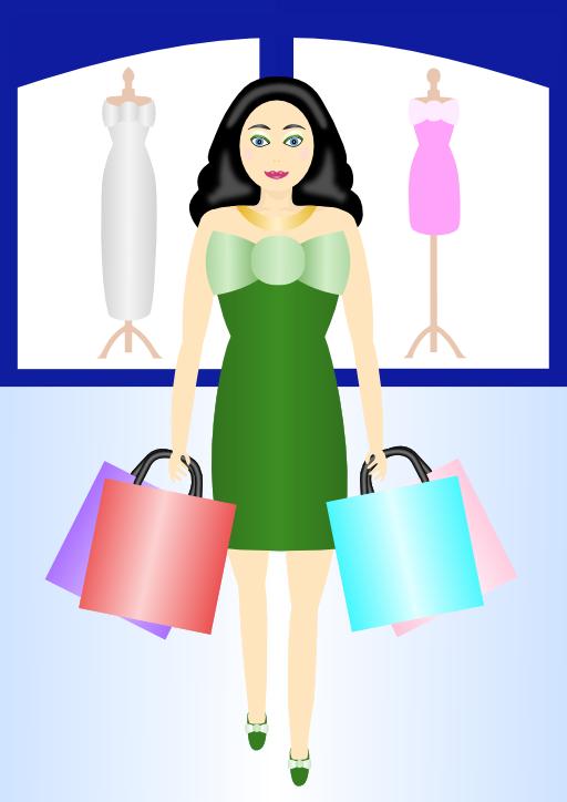 Woman shopping i royalty. Fashion clipart shopper