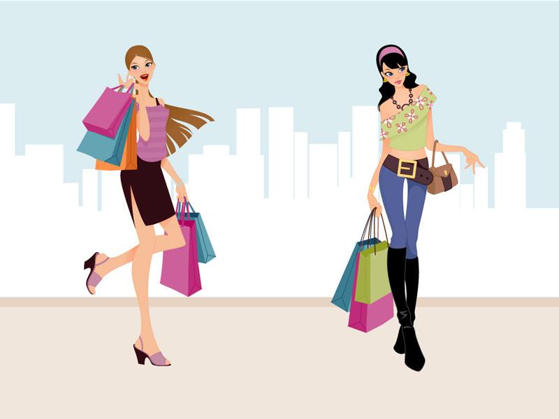 Free ladies shopping cliparts. Fashion clipart shopper