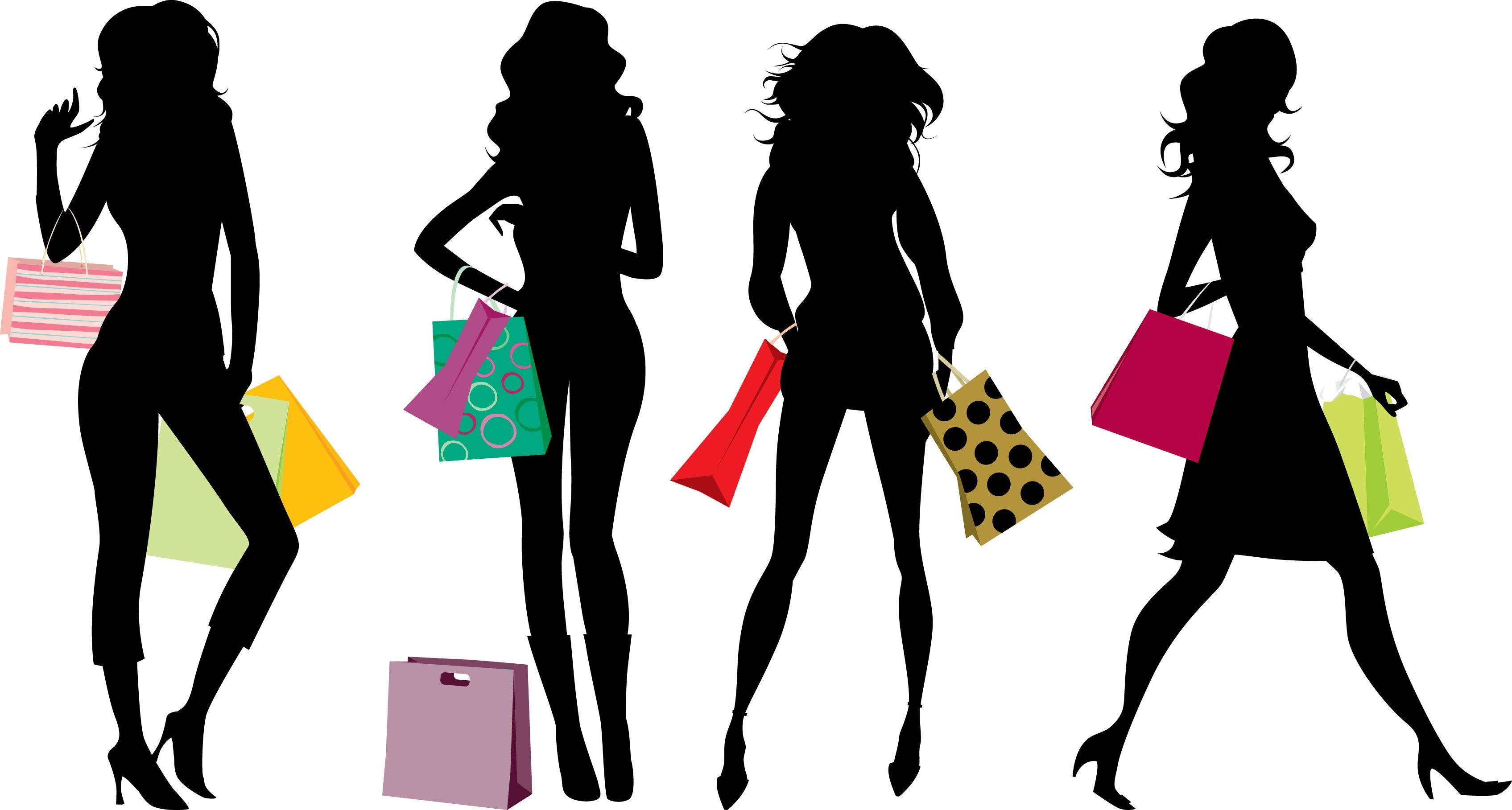 Shopping as a plus. Fashion clipart shopper