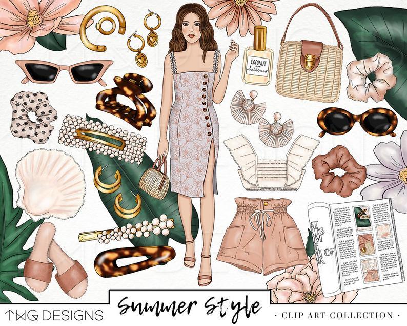 Trendy girl clip art. Fashion clipart style