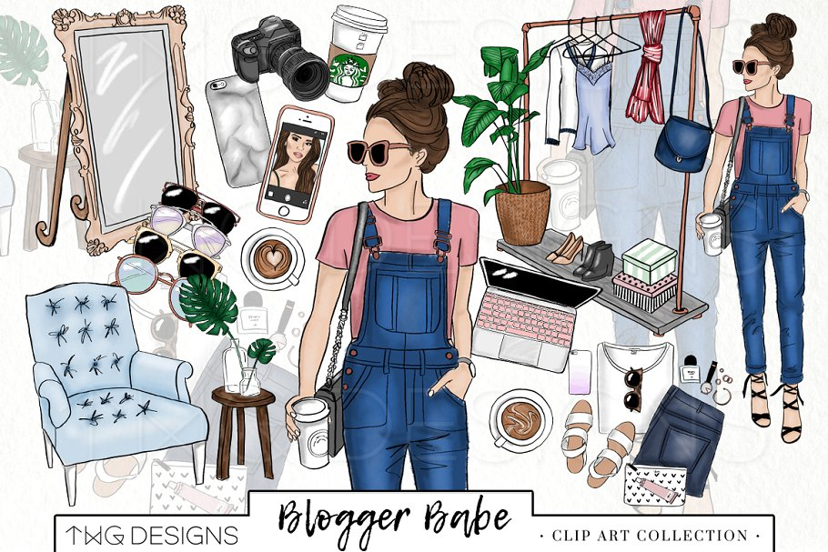 Fashion clipart style. Girl blogger clip art