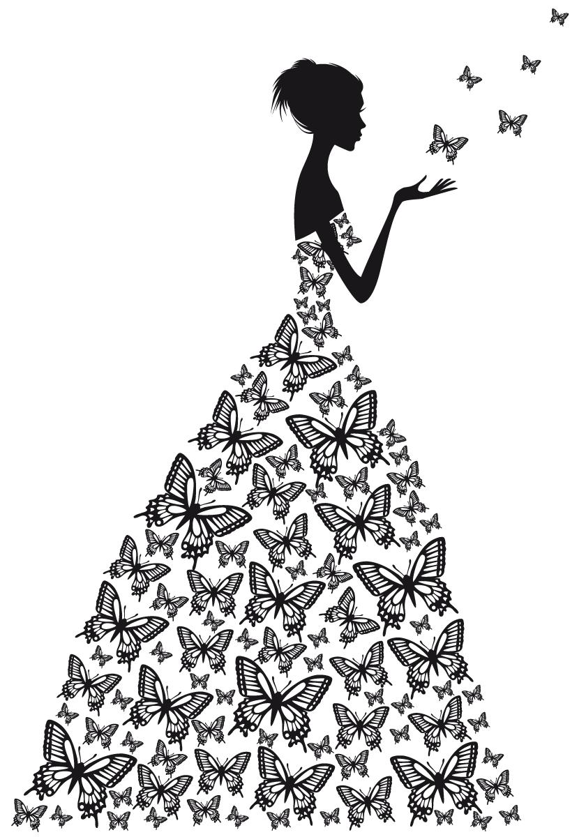 Wall decal clip art. Fashion clipart wedding dress