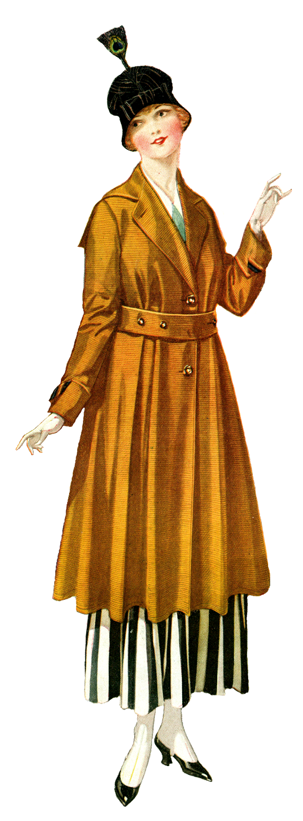 Fashion women vintage illustration. Winter clipart coat
