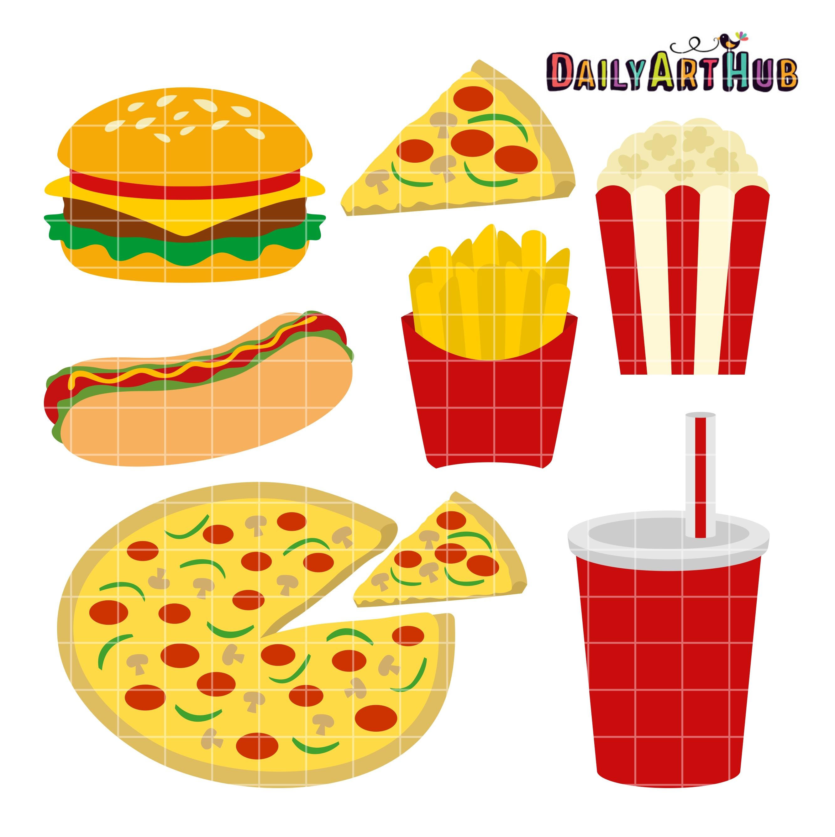 Food clip art set. Fast clipart