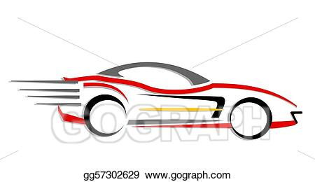 Stock illustration moving car. Fast clipart