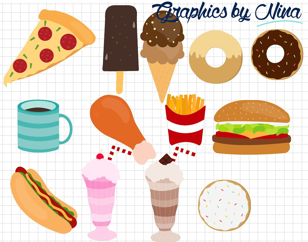 Fast clipart. Food illustrations creative market