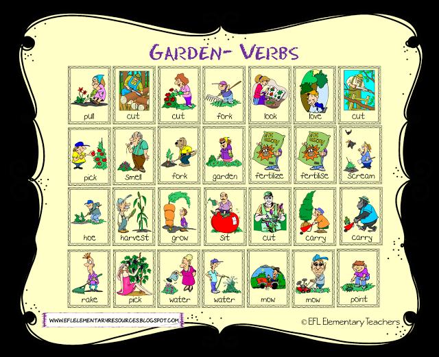 Esl garden theme verbs. Fast clipart action word
