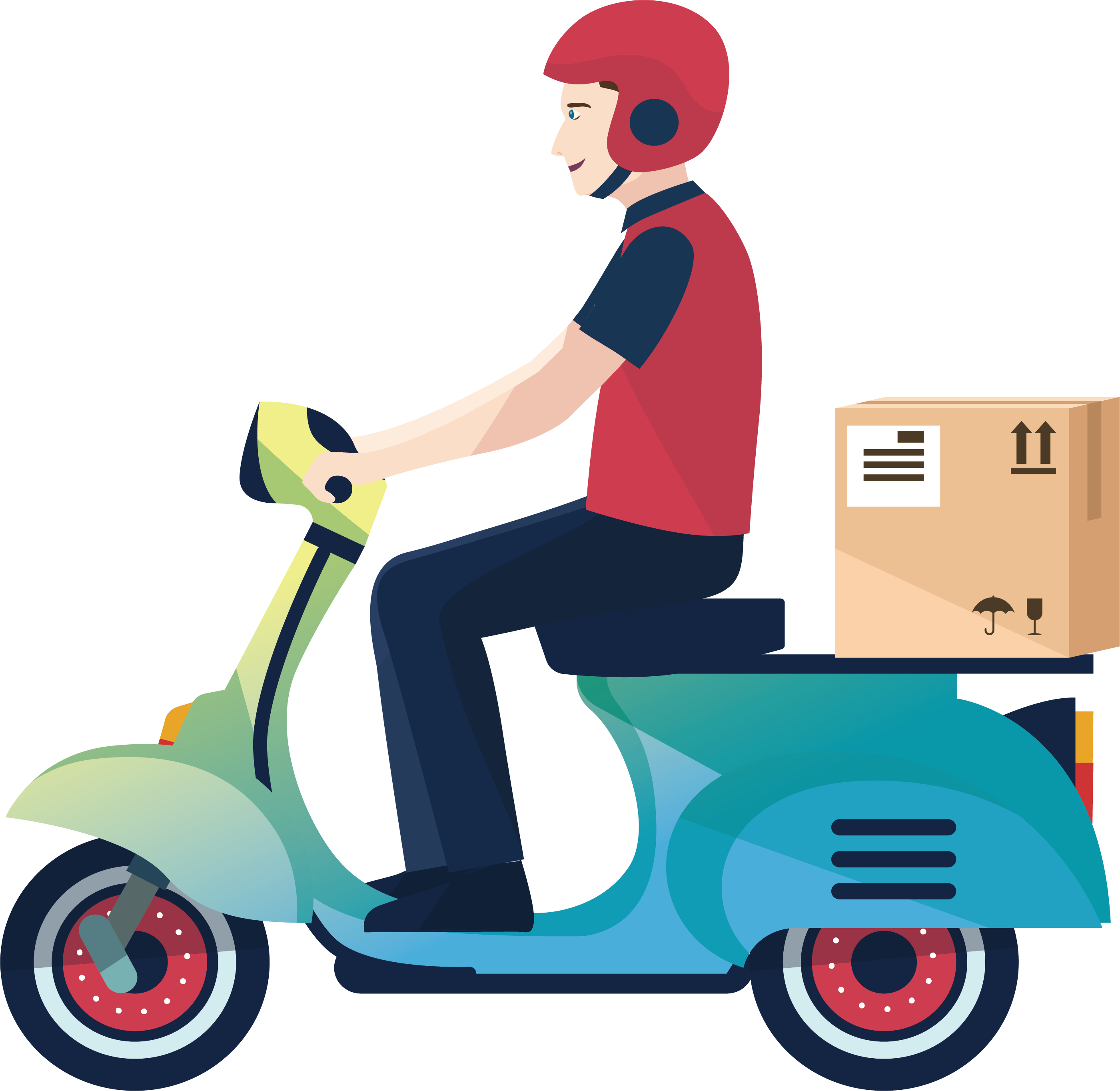 Motorcycle courier logistics service. Scooter clipart delivery scooter