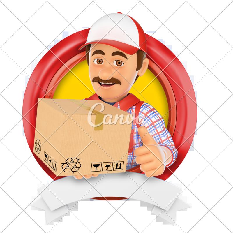 d logo service. Fast clipart courier boy