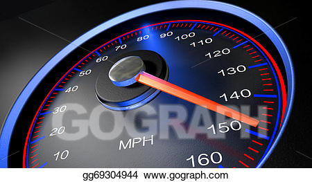 Stock illustration speedometer mph. Fast clipart odometer
