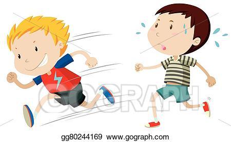 Vector stock two boys. Fast clipart runnin
